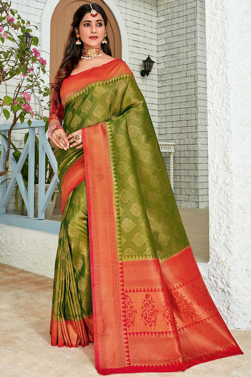 Weaving Work Art Silk Fabric Green Color Fancy Saree