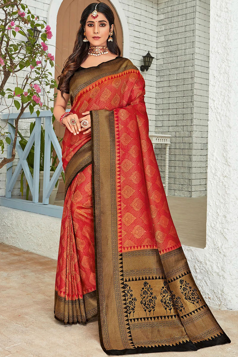 Eid Special Red Color Fancy Weaving Work Traditional Saree In Art Silk Fabric