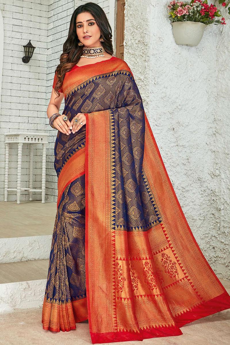 Eid Special Fancy Art Silk Fabric Navy Blue Color Weaving Work Designer Saree