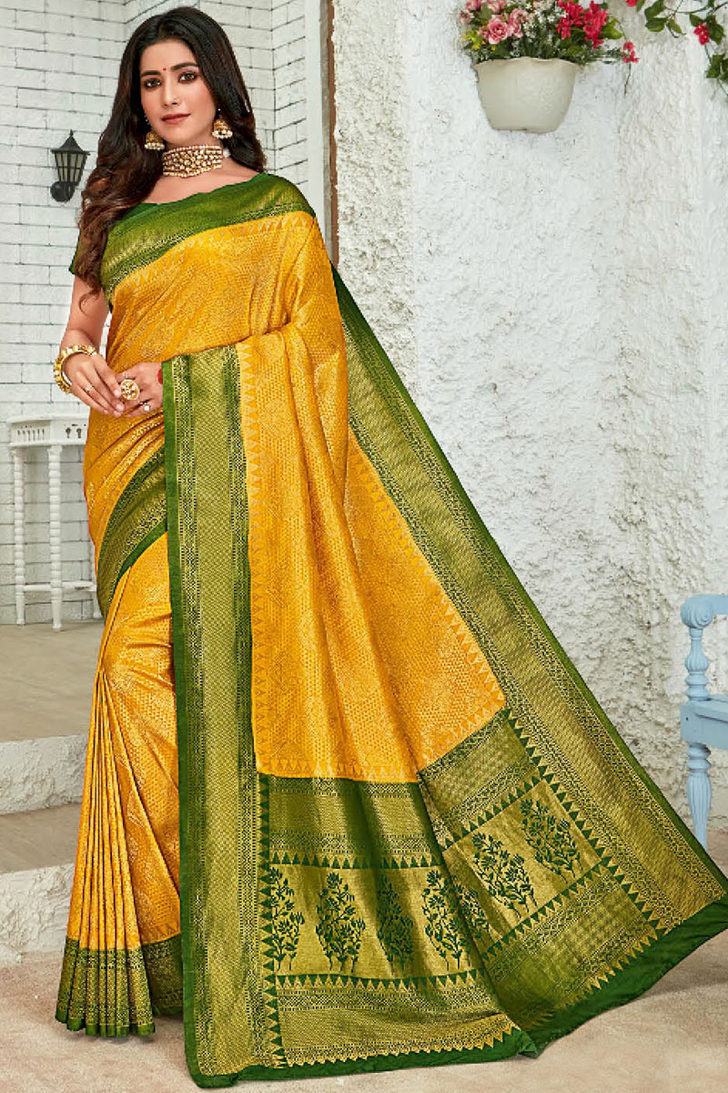 Weaving Work Art Silk Fabric Mustard Color Fancy Saree