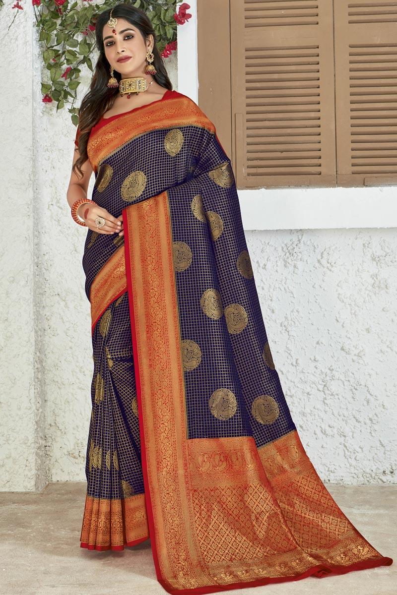 Art Silk Fabric Navy Blue Color Party Style Designer Weaving Work Saree