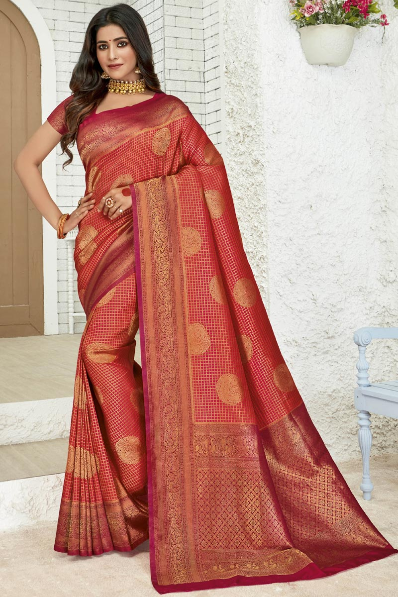 Weaving Work On Art Silk Fabric Party Style Designer Saree In Red Color