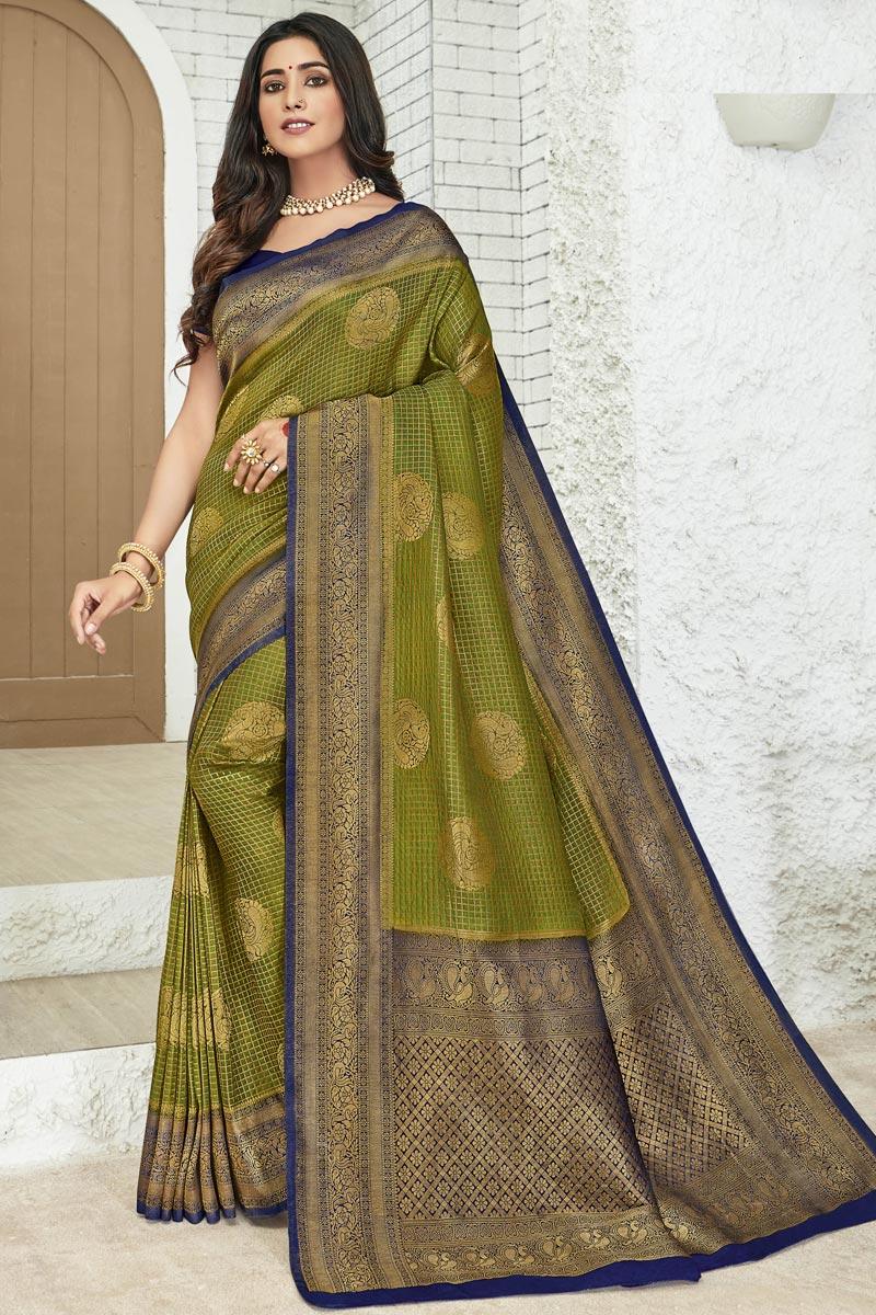 Mehendi Green Color Art Silk Fabric Party Style Designer Weaving Work Saree