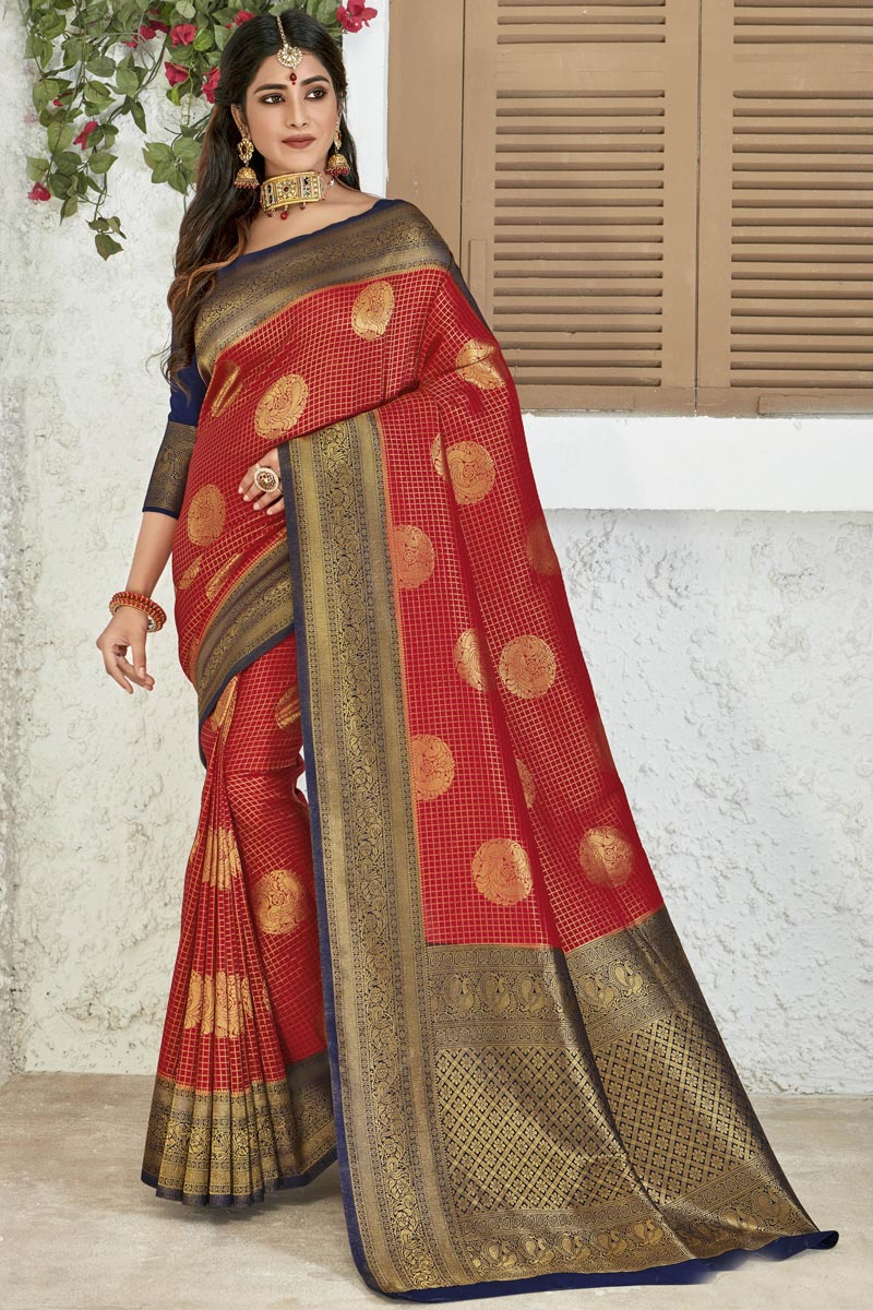 Art Silk Fabric Party Style Designer Red Color Weaving Work Saree
