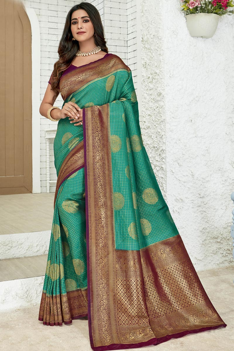 Cyan Color Art Silk Fabric Party Style Designer Weaving Work Saree