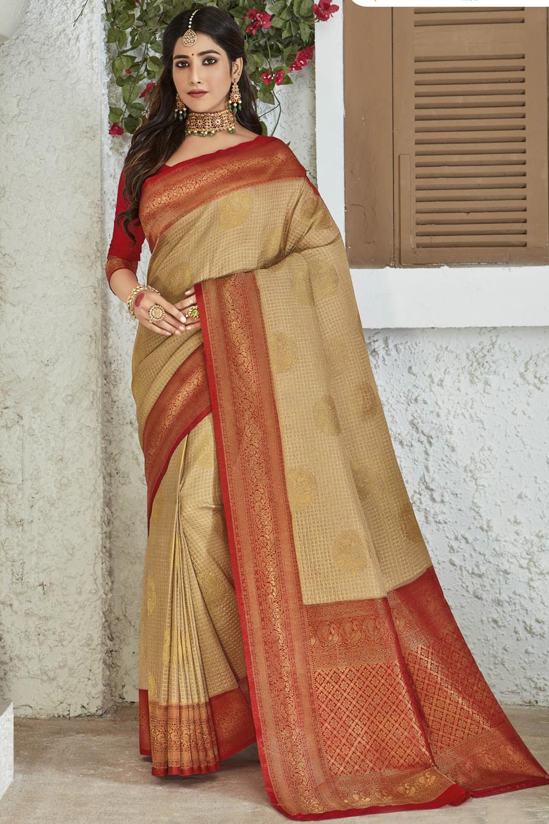 Weaving Work On Cream Color Party Style Designer Saree In Art Silk Fabric
