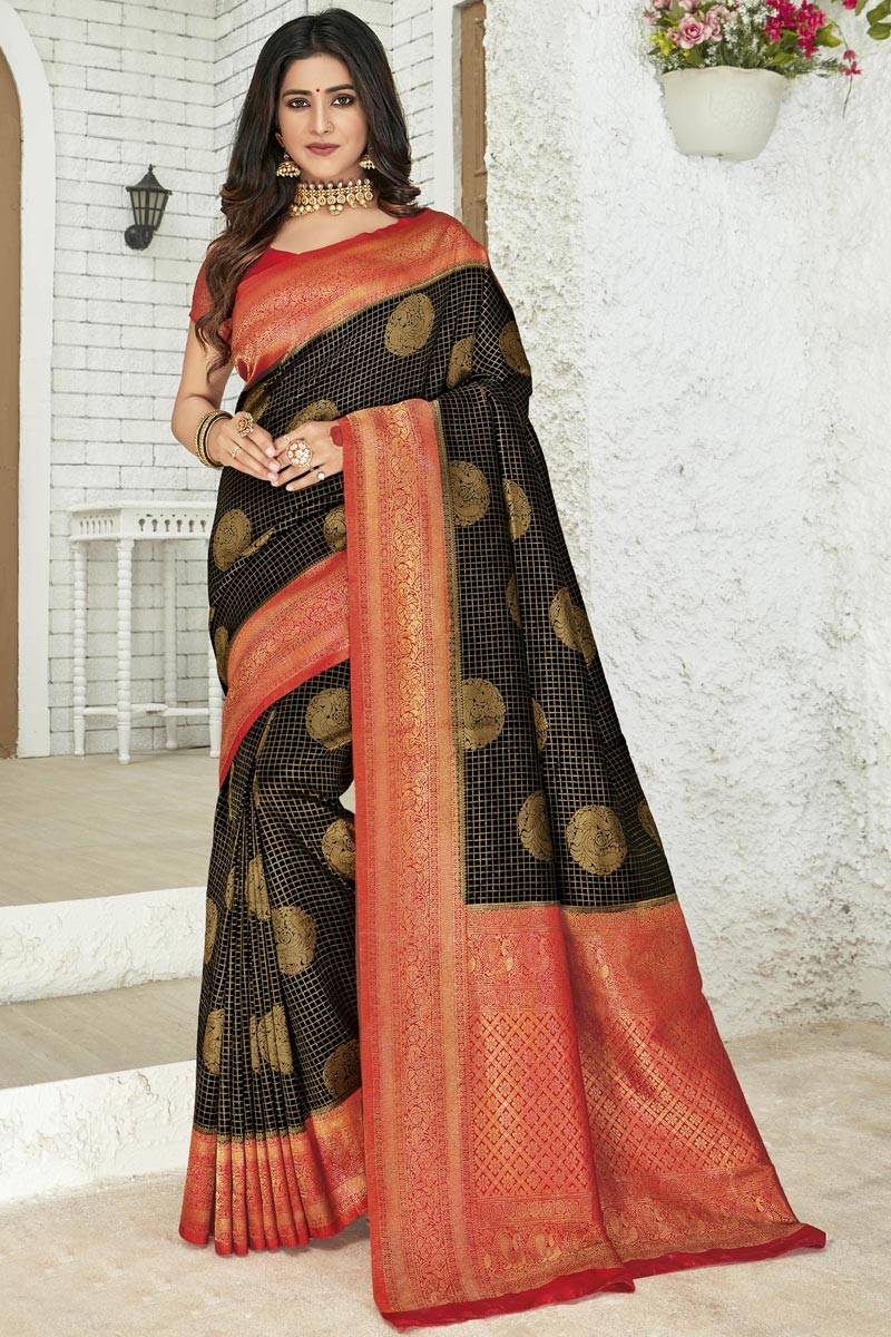 Art Silk Fabric Black Color Party Style Designer Weaving Work Saree