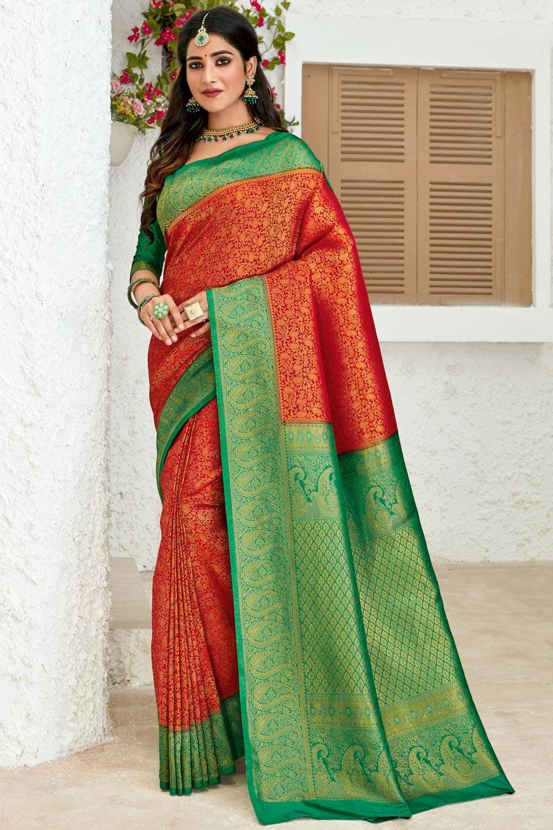 Art Silk Fabric Red Color Sangeet Wear Designer Weaving Work Saree