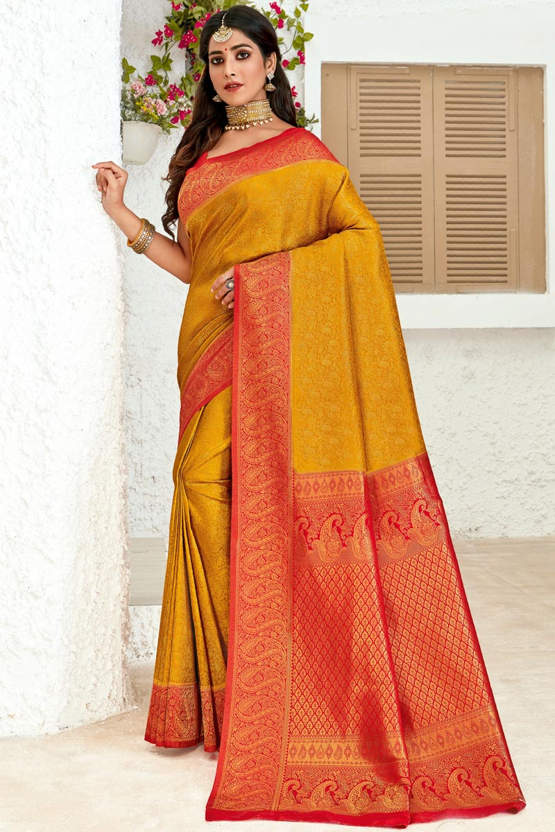 Weaving Work On Art Silk Fabric Sangeet Wear Designer Saree In Mustard Color