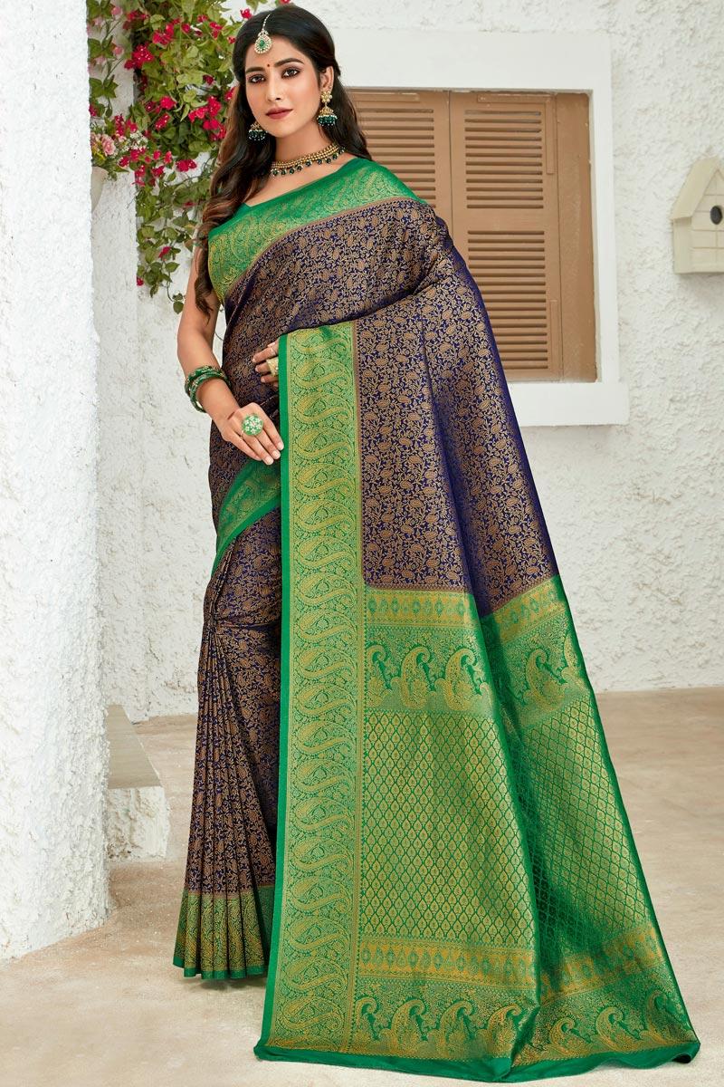 Navy Blue Color Art Silk Fabric Sangeet Wear Designer Weaving Work Saree