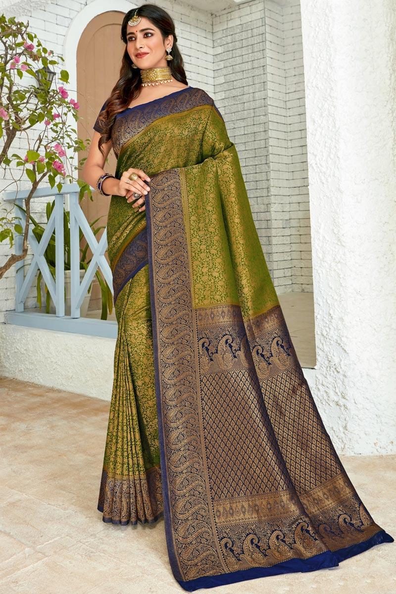 Art Silk Fabric Sangeet Wear Designer Mehendi Green Color Weaving Work Saree