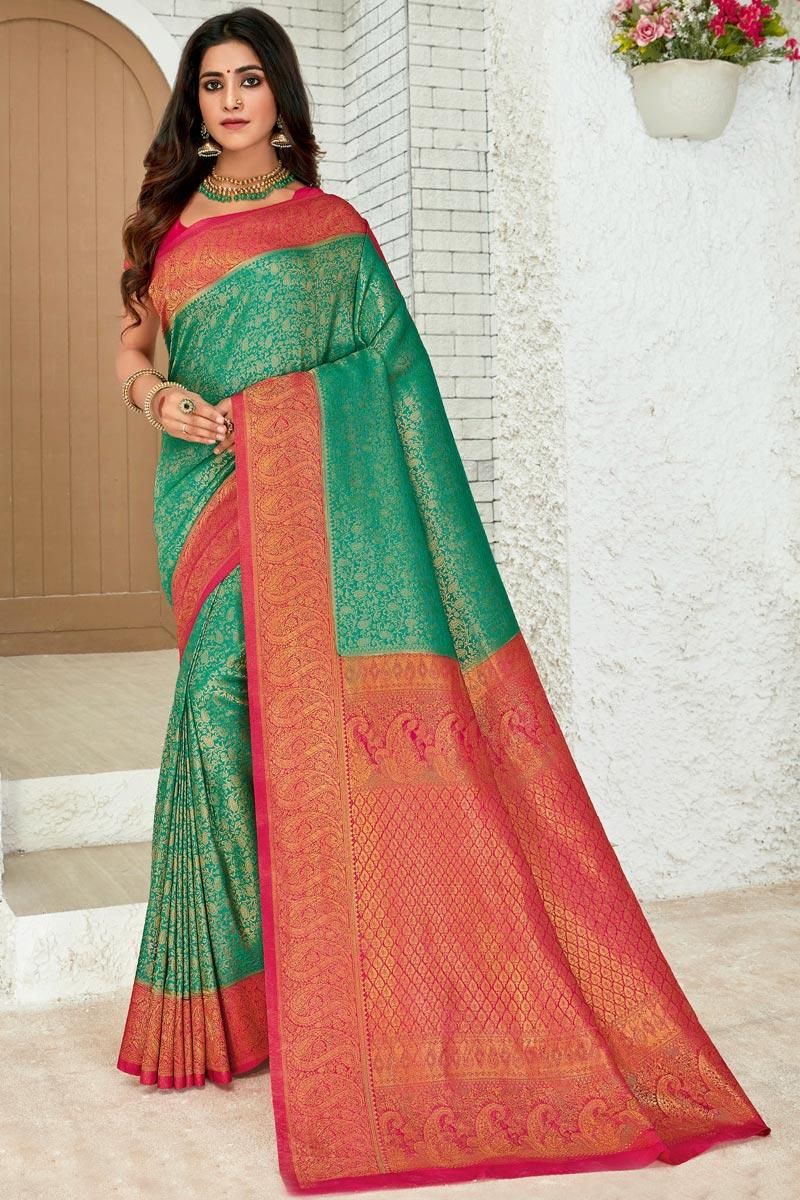 Art Silk Fabric Green Color Sangeet Wear Designer Weaving Work Saree