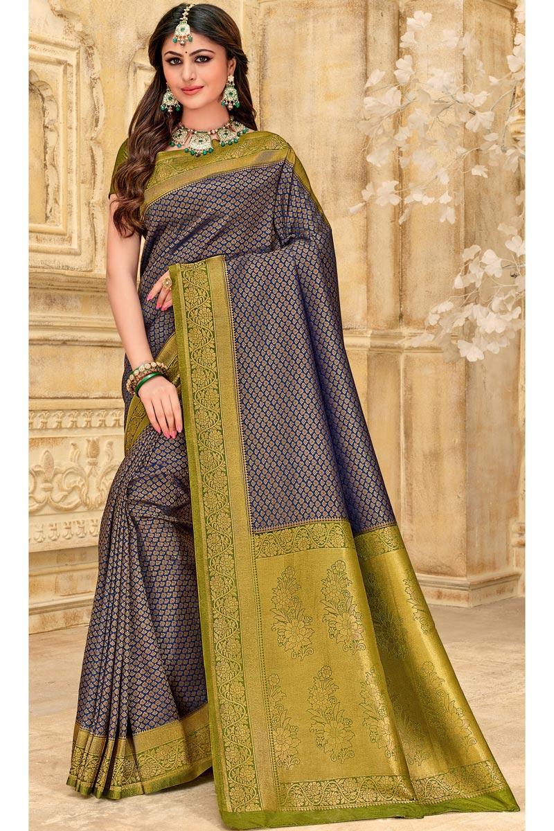 Art Silk Fabric Navy Blue Color Puja Wear Designer Weaving Work Saree