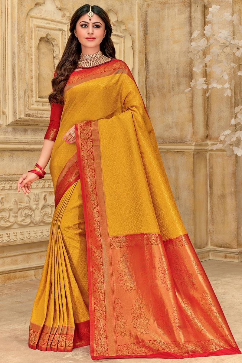 Weaving Work On Art Silk Fabric Puja Wear Designer Saree In Mustard Color