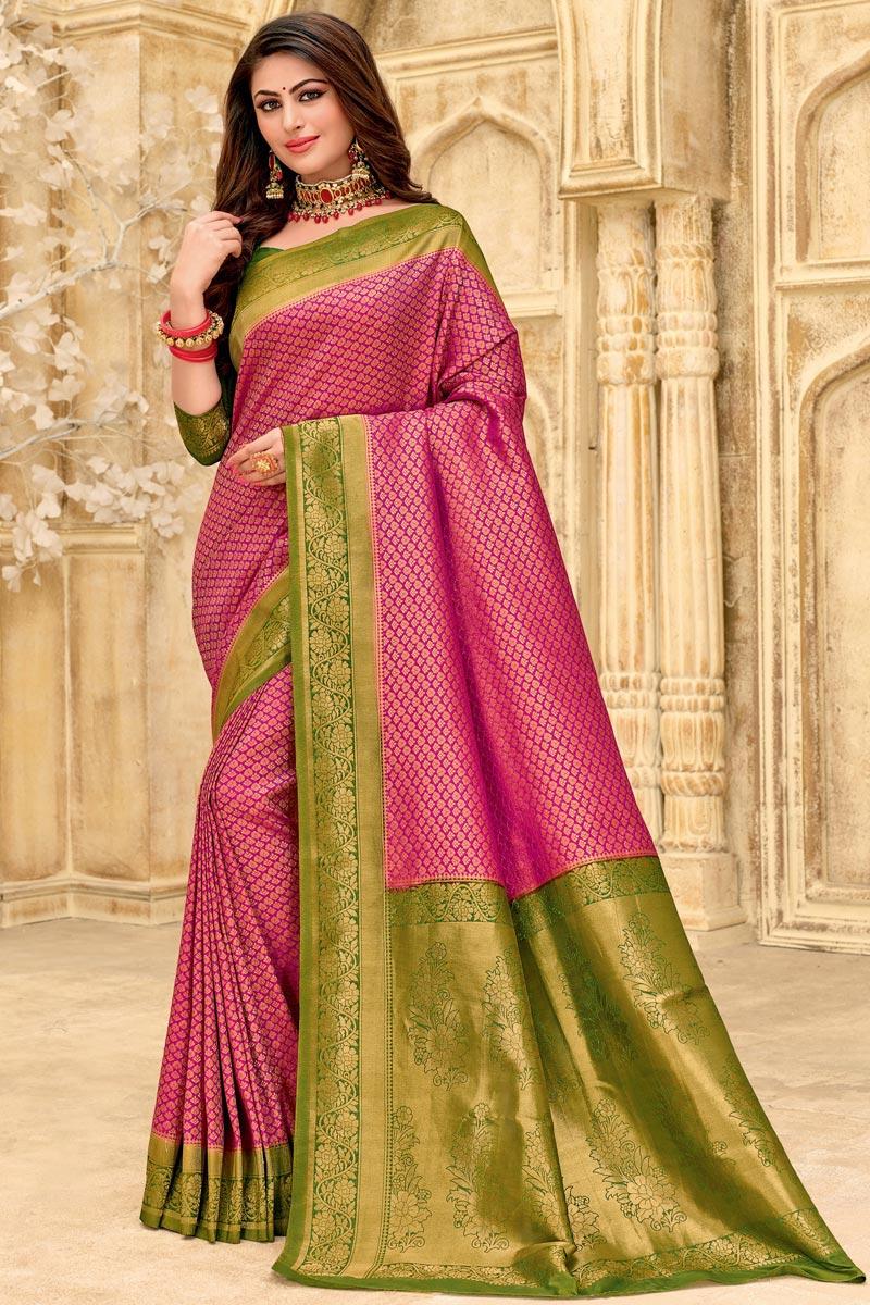 Rani Color Art Silk Fabric Puja Wear Designer Weaving Work Saree