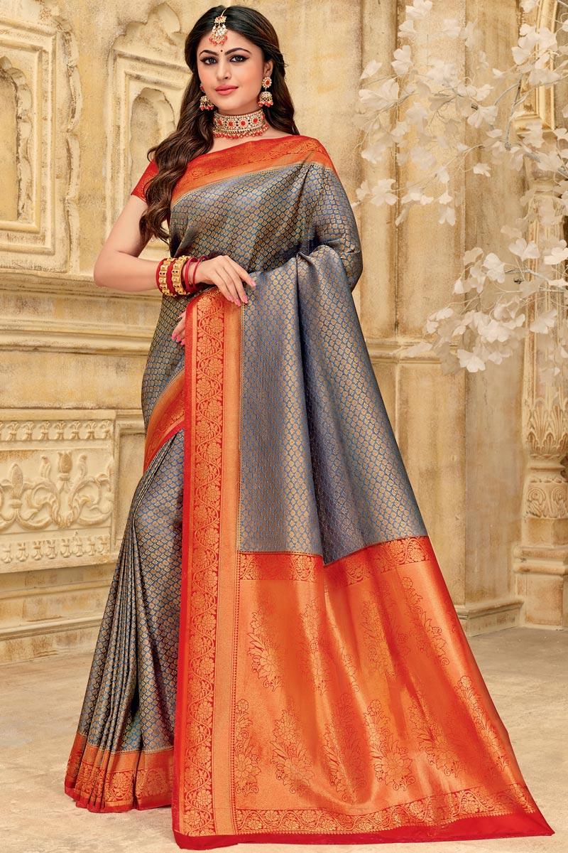 Art Silk Fabric Puja Wear Designer Grey Color Weaving Work Saree