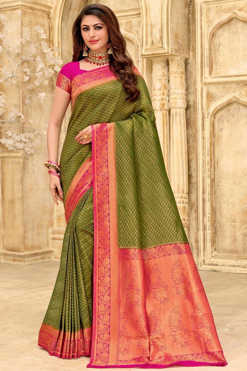 Green Color Art Silk Fabric Puja Wear Designer Weaving Work Saree