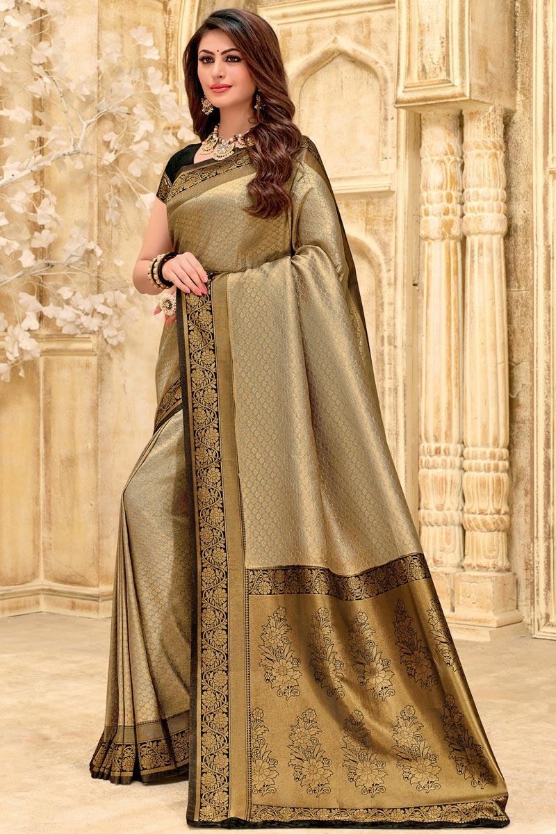 Weaving Work On Dark Beige Color Puja Wear Designer Saree In Art Silk Fabric