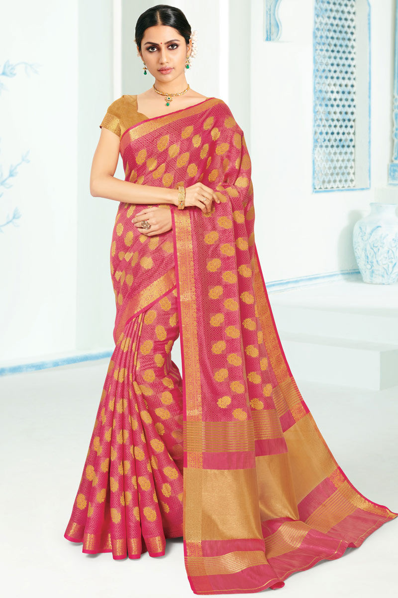 Art Silk Fabric Pink Wedding Wear Saree With Weaving Work