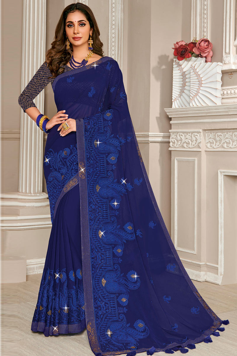 Chiffon Fabric Designer Saree In Blue With Embroidered Border And Blouse