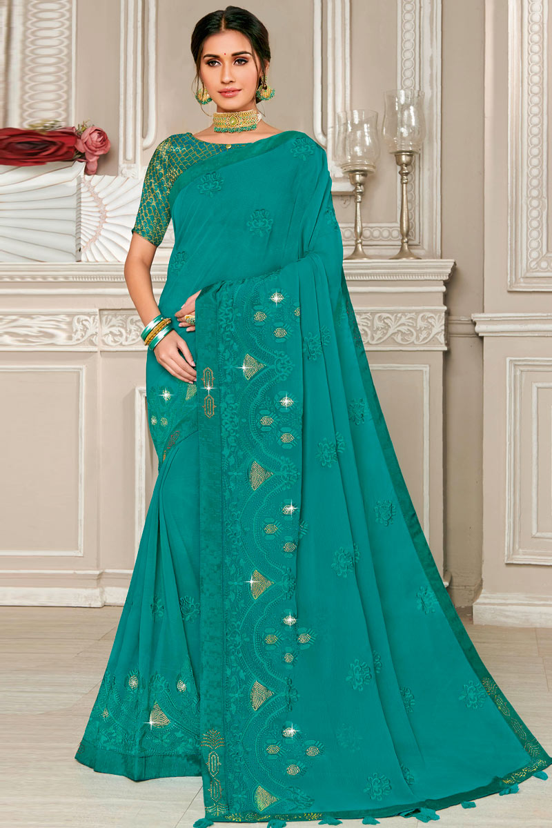 Chiffon Fabric Dark Cyan Occasion Wear Saree With Embroidered Border And Blouse