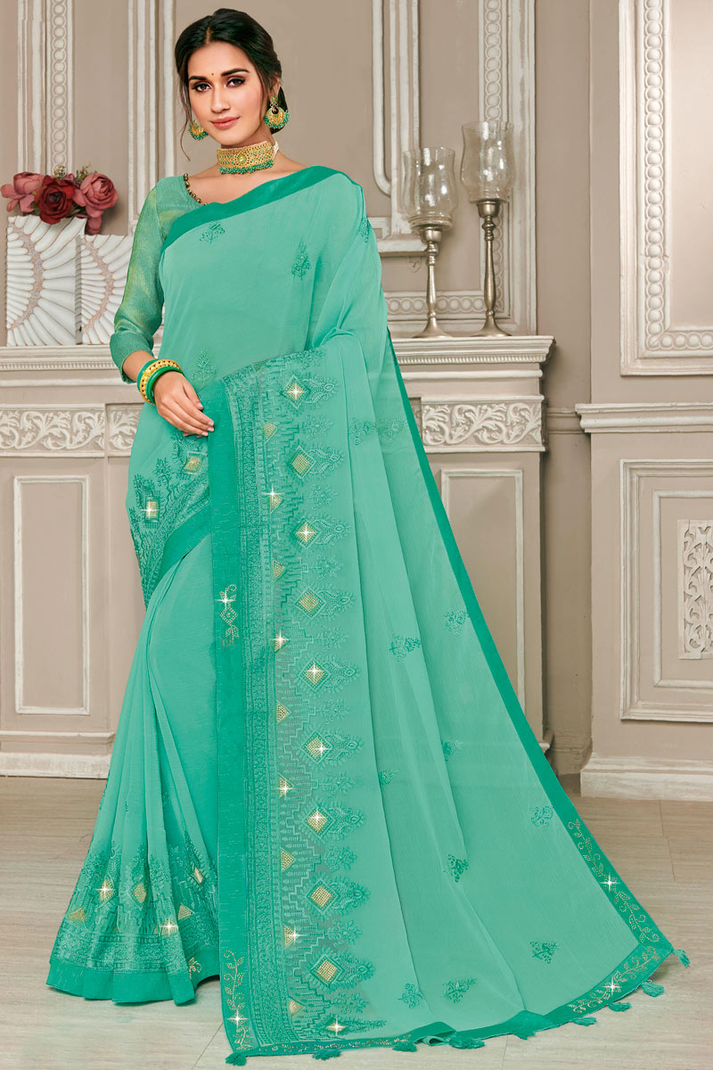 Chiffon Fabric Light Turquoise Festive Wear Saree With Embroidery Work