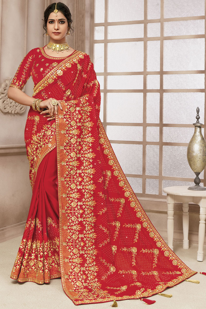 Satin Silk Fabric Function Wear Embroidered Work Saree In Red Color