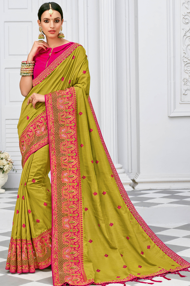 Light Yellow Color Designer Embroidery Work Saree In Silk Fabric