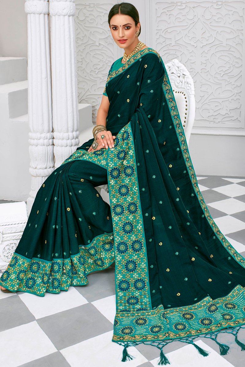 Silk Fabric Party Wear Embroidery Work Saree In Teal Color