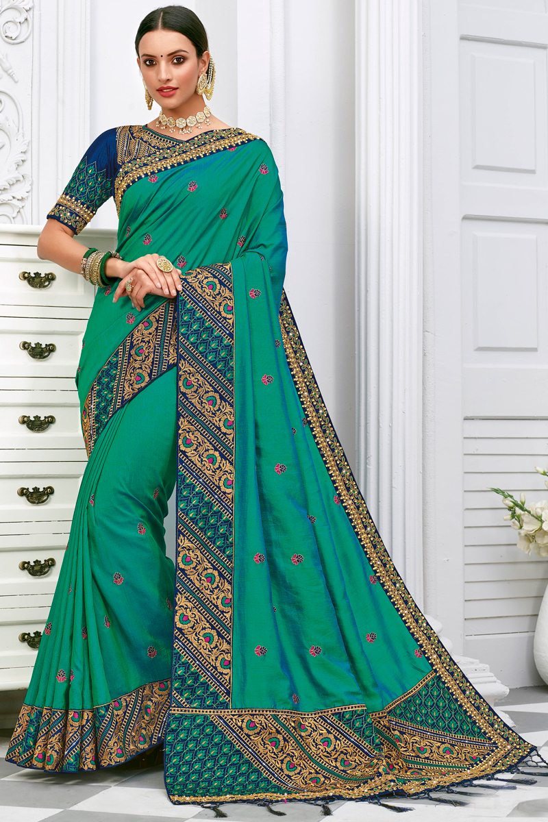 Cyan Color Party Wear Embroidery Work Saree In Silk Fabric