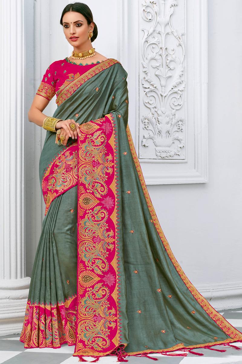 Fancy Grey Color Silk Fabric Sangeet Wear Embroidery Work Saree