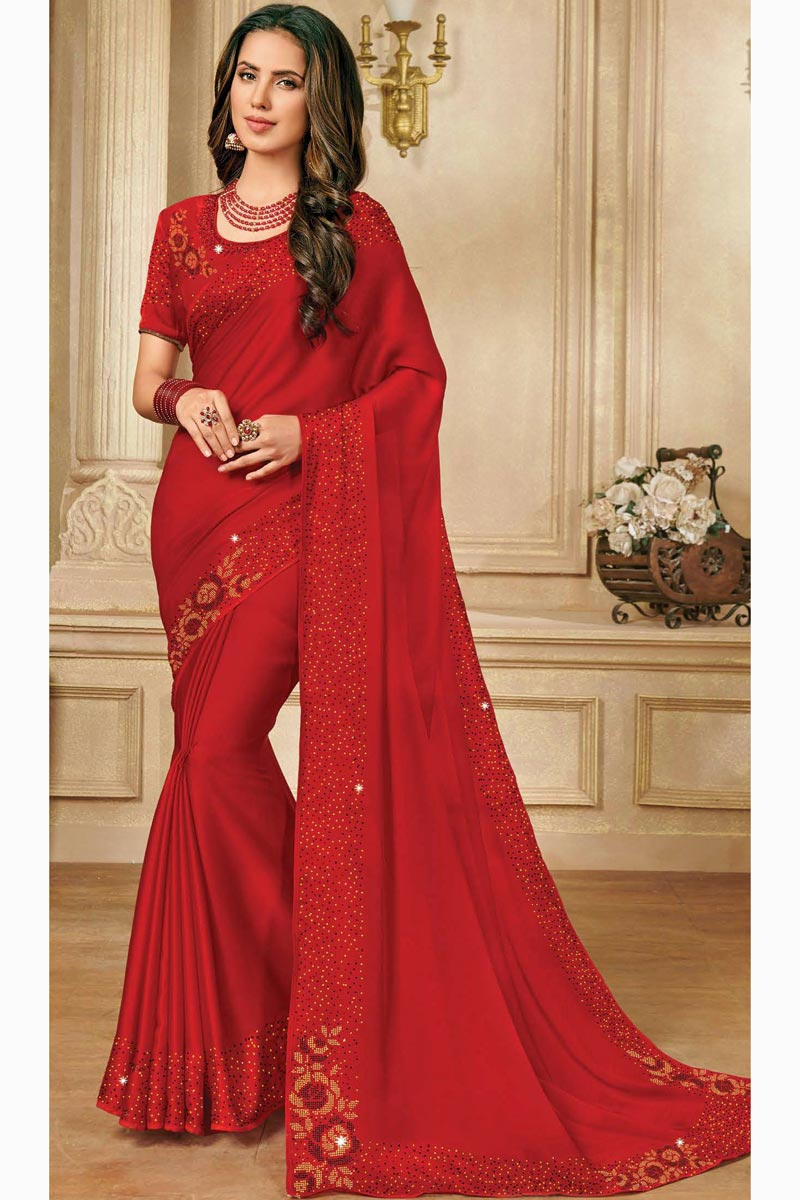 Red Color Function Wear Chic Satin Silk Fabric Sequins Work Saree