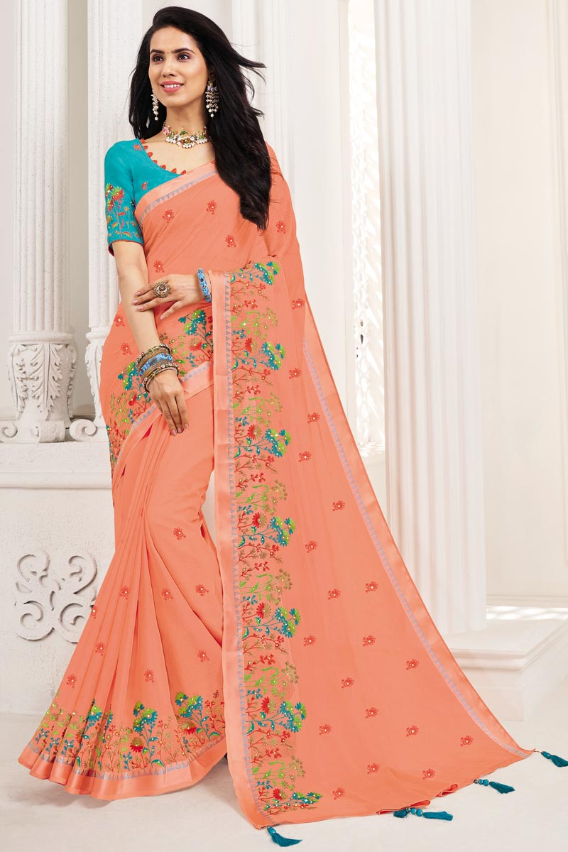 Peach Color Fancy Party Wear Chiffon Fabric Embroidered Saree