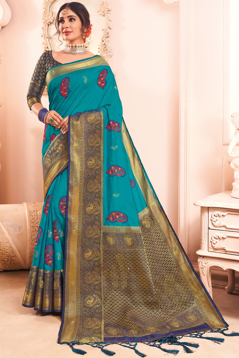 Cyan Color Party Wear Art Silk Fabric Embroidered Saree