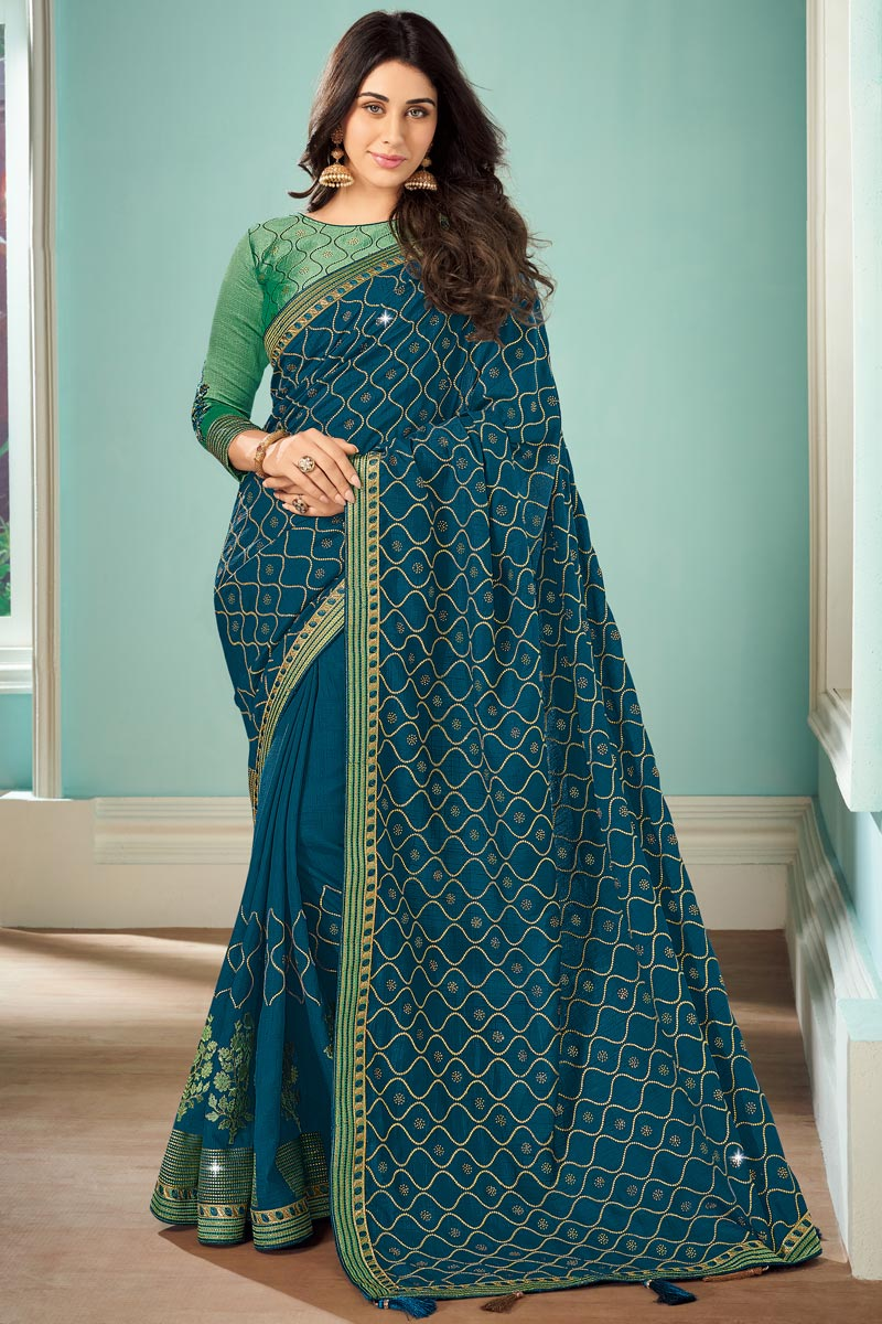 Teal Color Art Silk Fabric Function Wear Saree