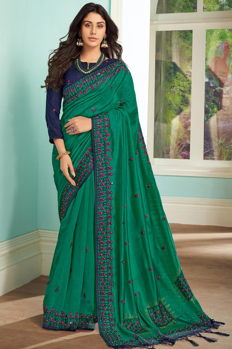 Function Wear Teal Color Saree In Art Silk Fabric