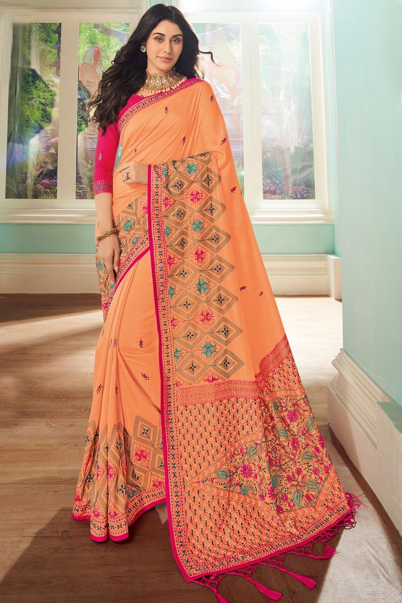 Peach Color Art Silk Fabric Occasion Wear Saree