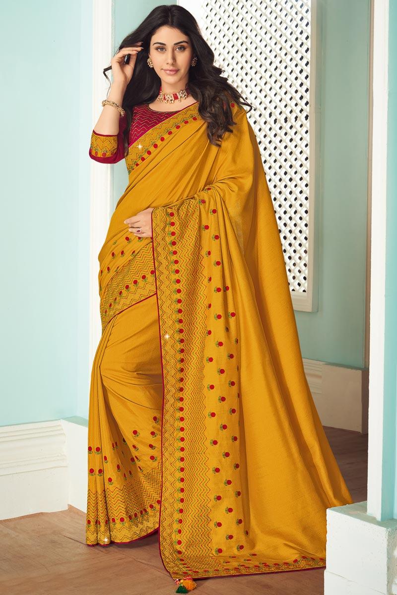 Mustard Color Art Silk Fabric Function Wear Fancy Saree