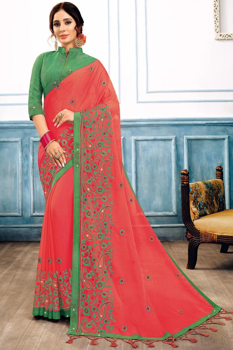 Pink Color Chiffon Fabric Occasion Wear Saree