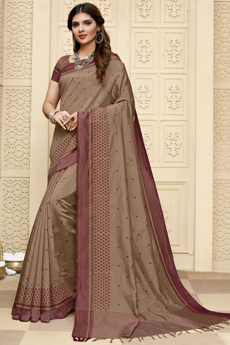 Sangeet Wear Dark Beige Color Art Silk Fabric Embroidery Work Saree