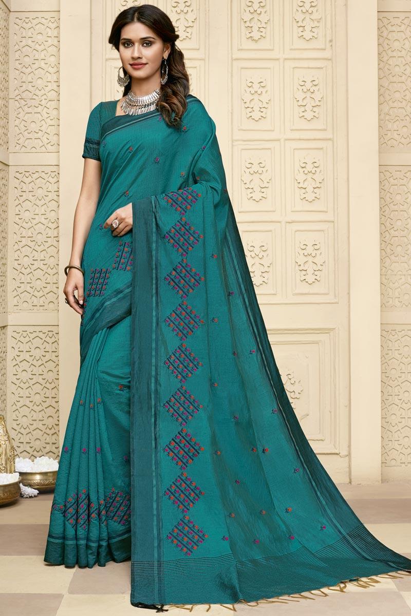 Cyan Color Art Silk Fabric Embroidery Work Saree