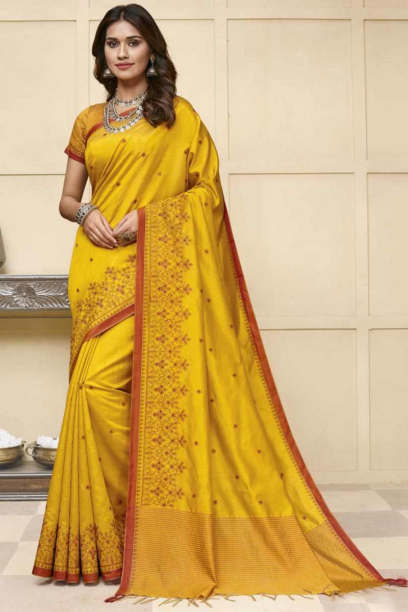 Yellow Color Festive Wear Trendy Saree In Art Silk Fabric