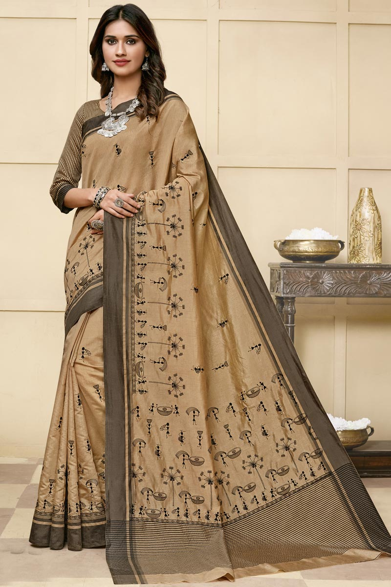 Dark Beige Color Art Silk Fabric Reception Wear Designer Saree