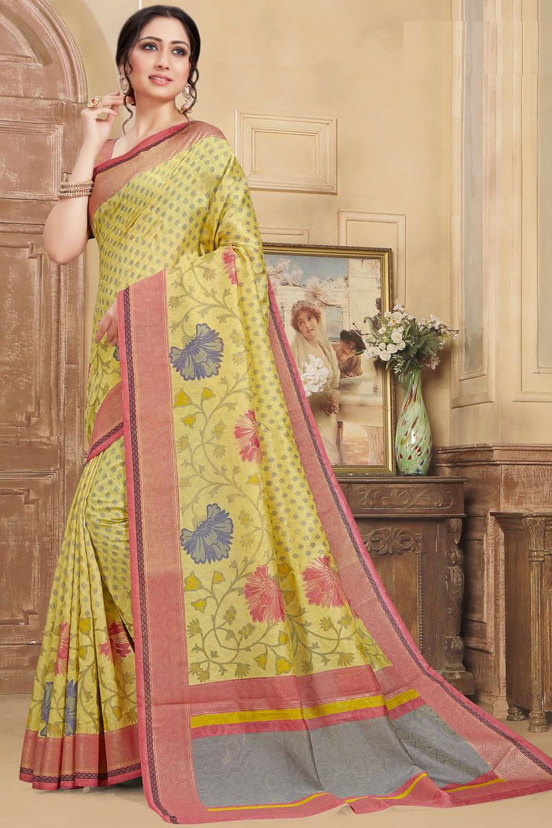 Art Silk Fabric Yellow Color Printed Designer Saree