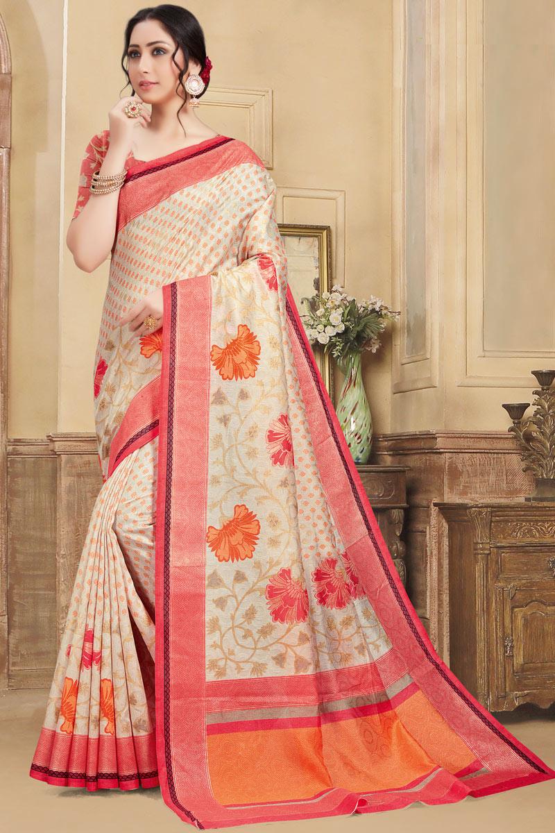 Printed Chikoo Color Art Silk Fabric Casual Wear Saree