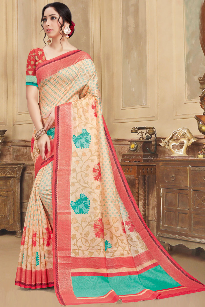 Chikoo Color Art Silk Fabric Function Wear Printed Saree