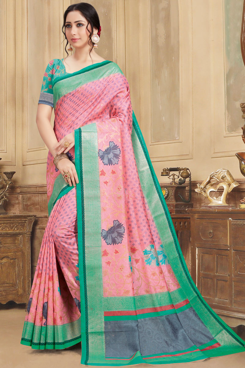 Fancy Art Silk Fabric Pink Color Printed Function Wear Saree