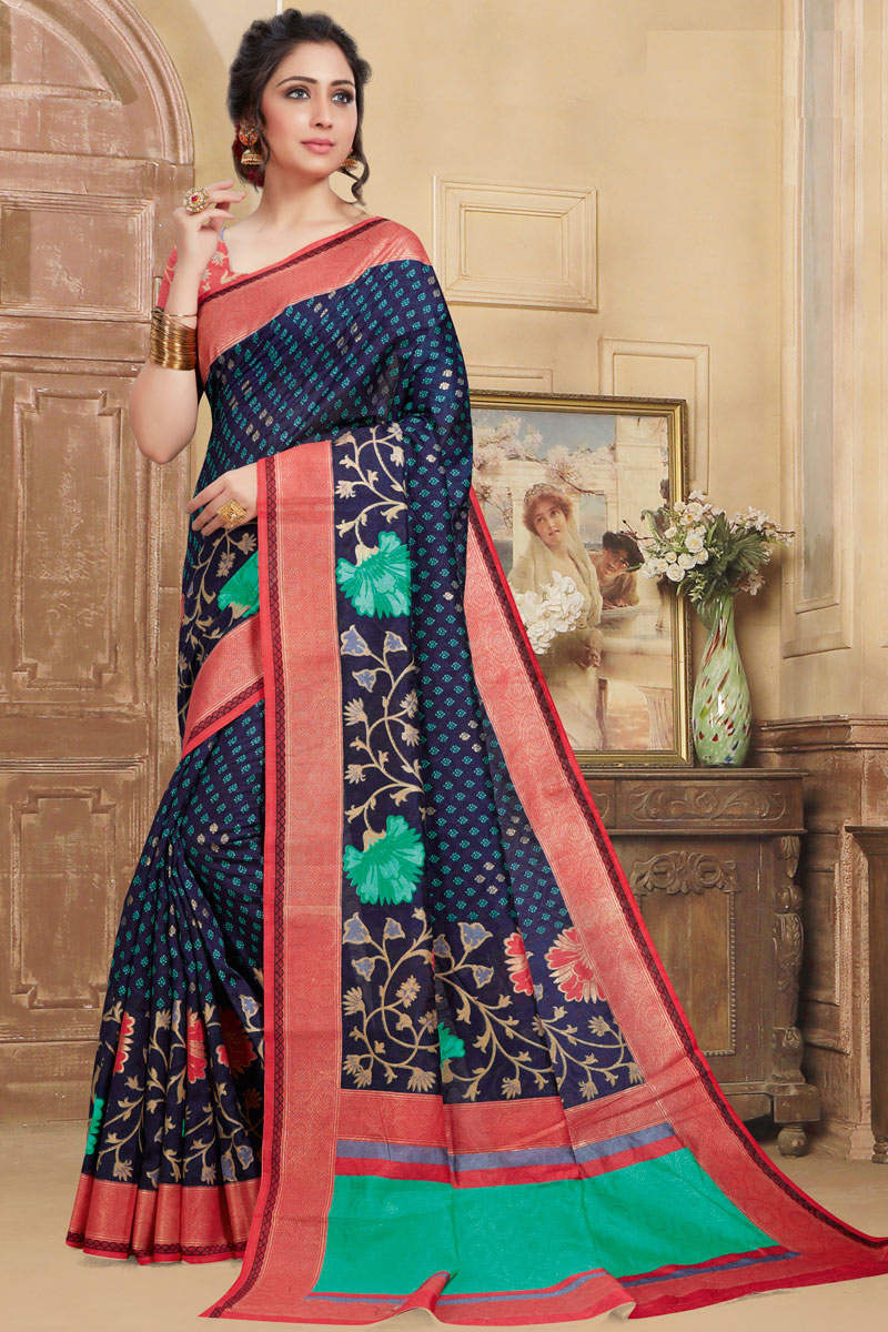 Printed Occasion Wear Saree In Navy Blue Color