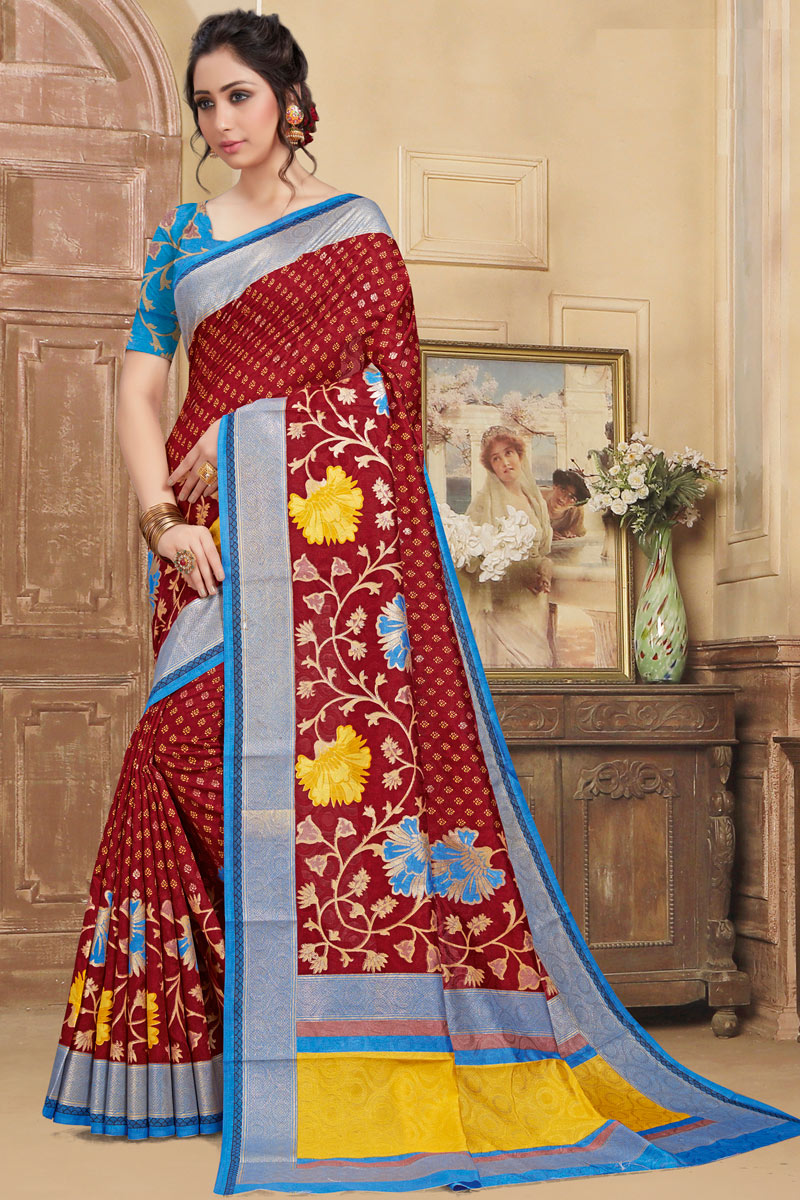 Maroon Color Art Silk Fabric Printed Daily Wear Saree