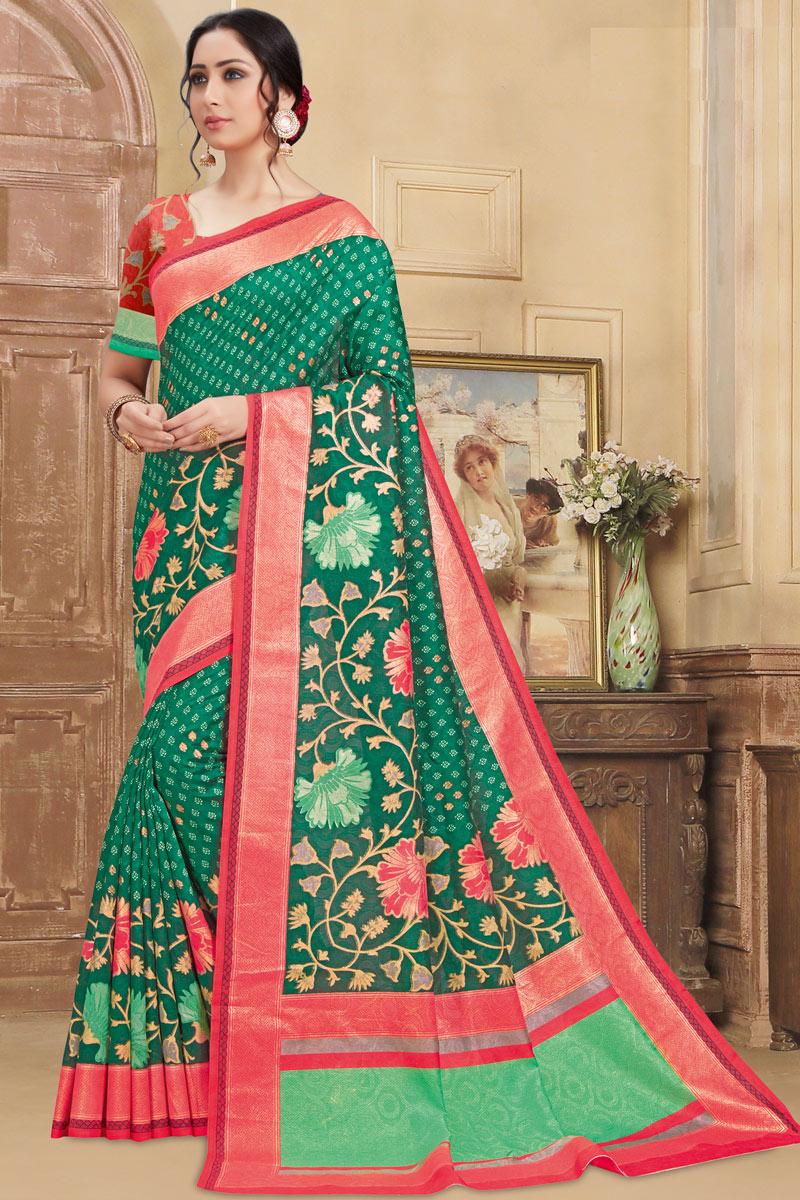 Printed Daily Wear Saree In Art Silk Fabric Dark Green Color